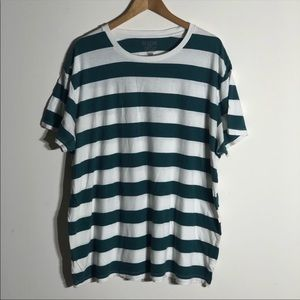 Old Navy Green White Classic Striped Crew-Neck Tee